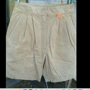 beige suede/leather short pants coulotte size 12